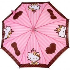 Parapluie Hello Kitty enfant rose coeur marron