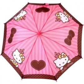 Parapluie Hello Kitty enfant fuchsia coeur marron