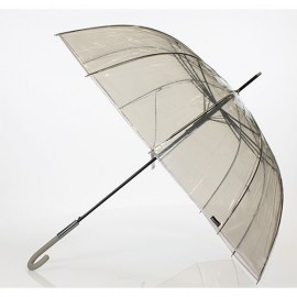Grand parapluie transparent noir et gris