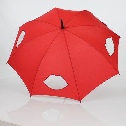 Parapluie semi transparent rouge par Lulu Guinness