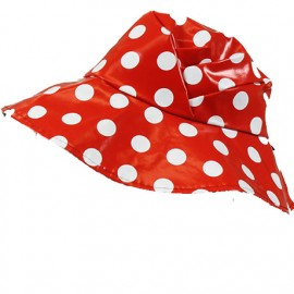 Chapeau de pluie rouge a pois blancs bords larges