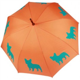 Parapluie orange motif Bulldog français