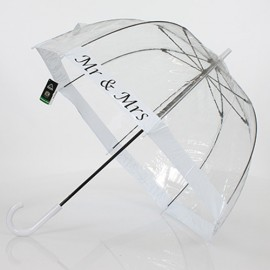 Parapluie transparent cloche Mr et Mrs