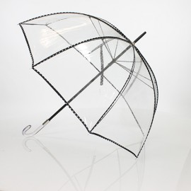 Grand parapluie cloche transparent noir et blanc