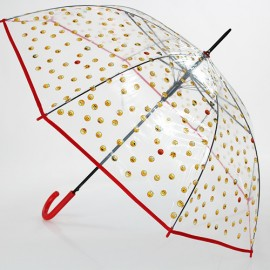 Grand parapluie transparent emoticones rouge