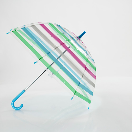 Parapluie cloche enfant transparent bandes multicolores