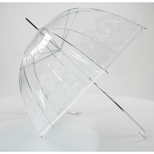 Parapluie transparent motif arabesque blanc