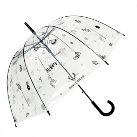 Parapluie transparent cloche happy féminin