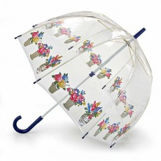 Parapluie transparent cloche bordure de fleurs
