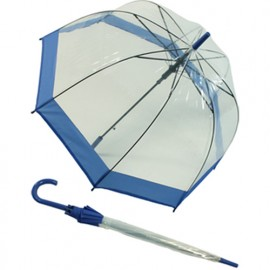 Parapluie cloche transparent bordure bleue