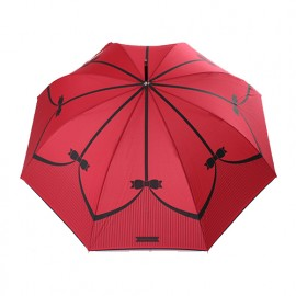 Parapluie long rouge rayures et noeuds Chantal Thomass