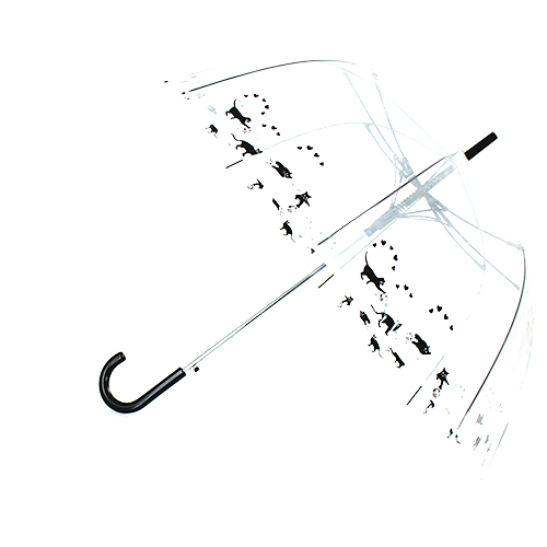 Parapluie cloche transparent chats noirs