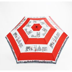 Mini parapluie pliable rouge monuments de Paris