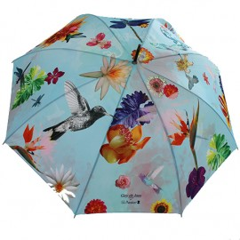 Parapluie canne tropical bleu