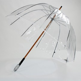 Parapluie transparent cloche made in france ganse blanche