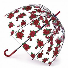 Parapluie cloche transparent roses rouges