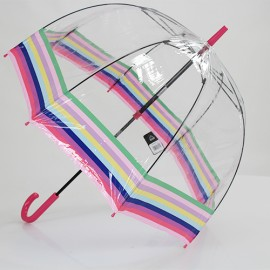 Parapluie cloche transparent bayadère Multicolore