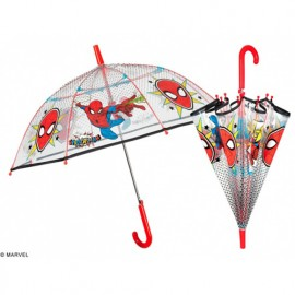 Parapluie enfant Spiderman transparent rouge